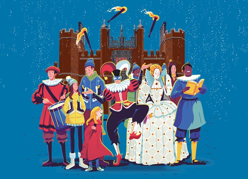 Illustration showing characters including Elizabeth I, ice skaters, musicians and a young child outside the palace in a snowy Christmas scene.