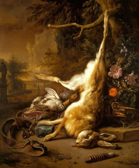 A painting depicting a dead hare and patridges, the scene of an aftermath of a hunt.