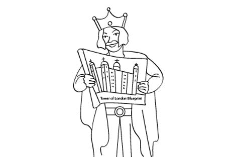 Line drawing illustration of William the Conqueror holding a Tower of London blueprint