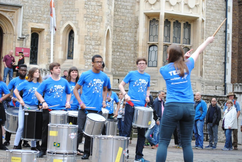 Students participating in music demonstration at Tower of London