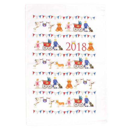 Celebrate the birth of a new royal baby. This colourful illustrated Royal Baby 2018 cotton tea towel by popular British designer Milly Green commemorates the arrival of the Duke and Duchess of Cambridge's third baby, a new sibling for HRH Prince George and HRH Princess Charlotte. The royal baby boy was born on 23rd April 2018.