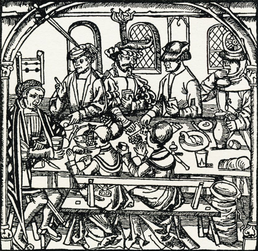 An illustration of a Tudor tavern.