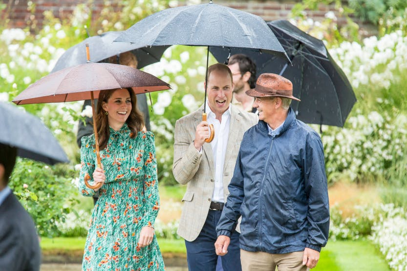 The Duke and Duchess of Cambridge are shown round the Sunken Garden of Kensington Palace