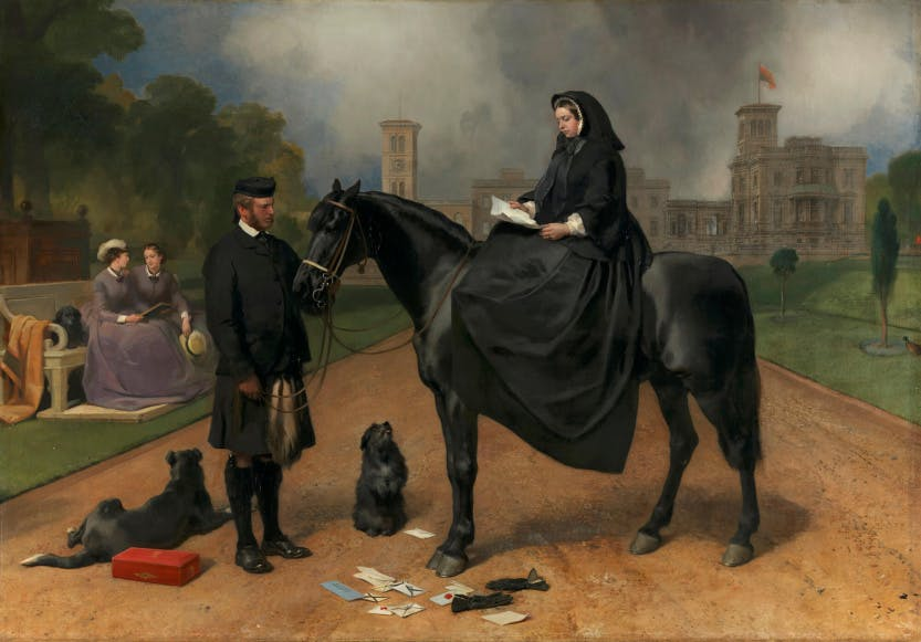 Painting depicting Queen Victoria is in deep mourning, reading a letter. She is seated on her pony, Flora, which is held by John Brown. Behind is the terrace at Osborne. The clock stands at 3 pm. On the ground lie the Queen's gloves and letters and she is accompanied by two dogs, a Border collie (probably Sharp) and a Skye terrier called Prince. The box which had contained the letters is also on the ground. Princess Louise and Princess Helena are sitting in the background with a terrier.