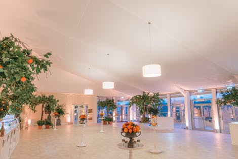 Orange trees in a wide open white event space with big French windows on the far side