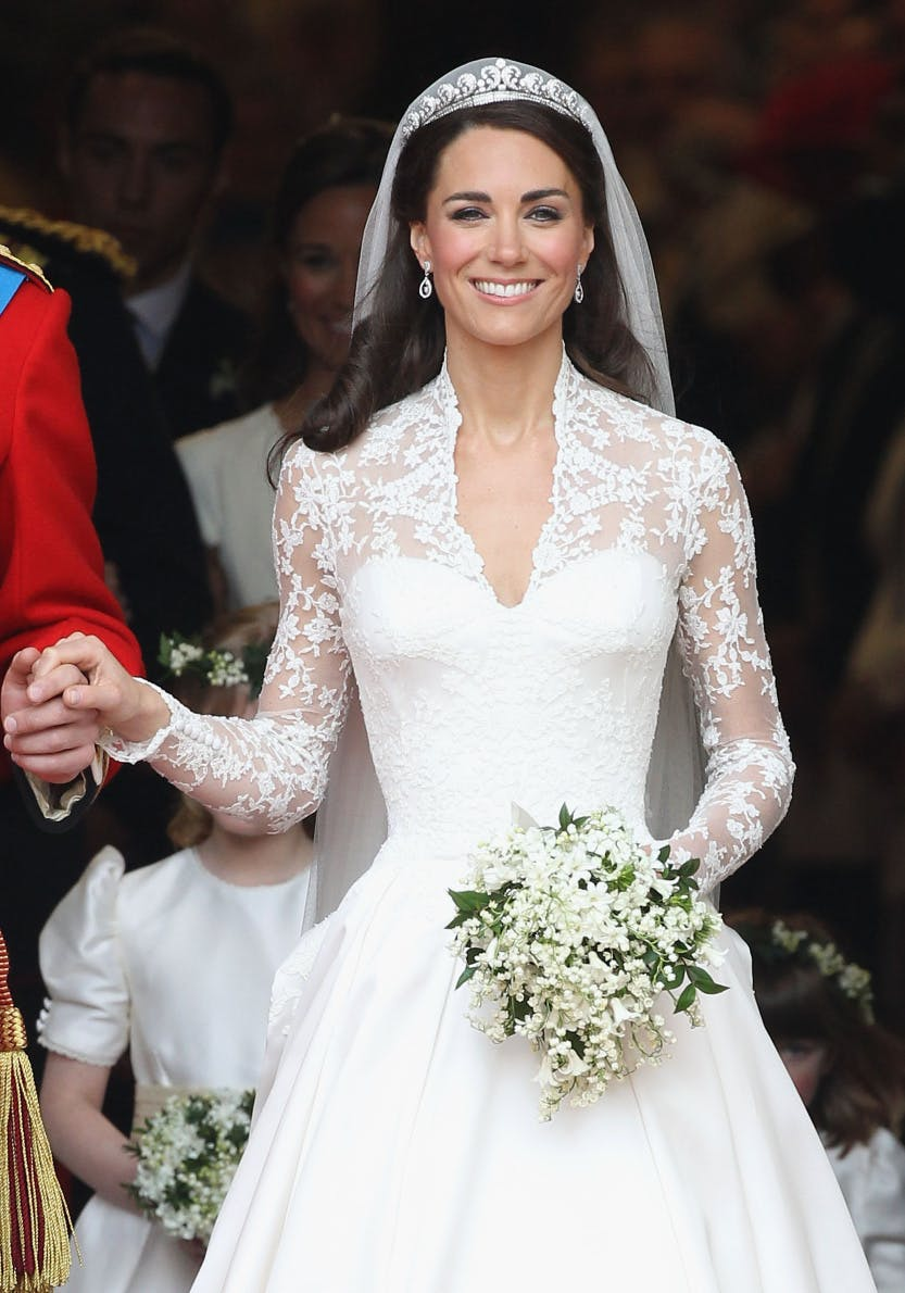 The Duchess of Cambridge (Catherine Middleton) leaving Westminster Abbey on her wedding day 29 April 2011