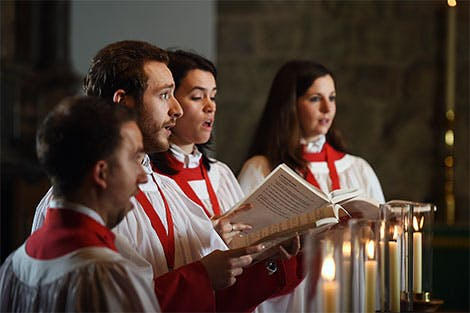 A photo of singers from the Chapel Royal Choir