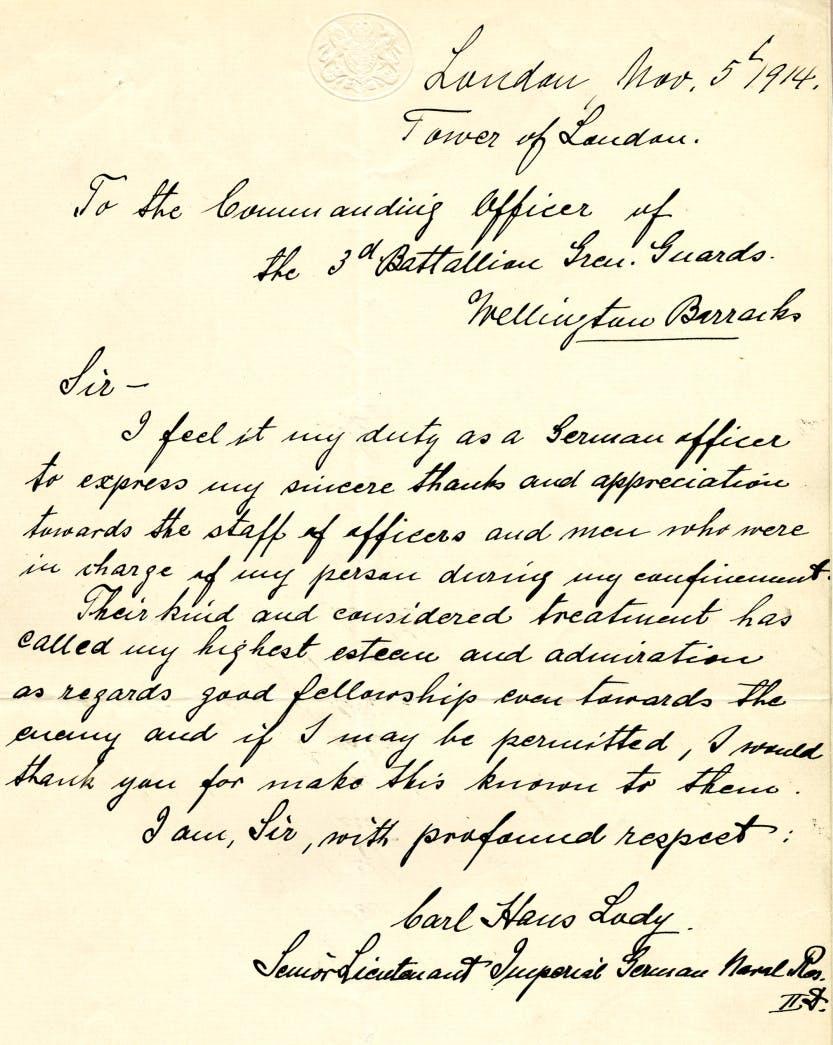 A letter written by Lody