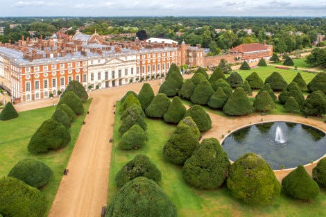 Aerial view of Great Fountain Garden at Hampton Court Palace showing Baroque East Front of palace