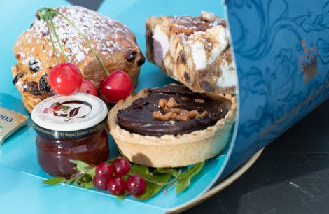 Cake, scone and jam in a box