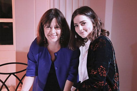 Daisy Goodwin and Jenna Coleman at Victoria member event