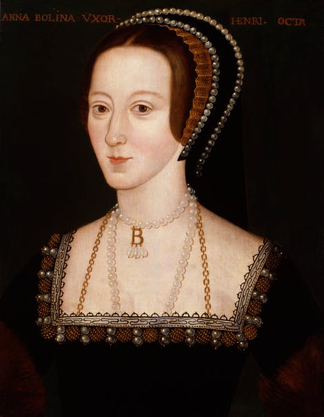 Anne Boleyn by Unknown English Artist, late 16th century.  Primary collection of National Portrait Gallery, NPG 668