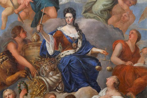 Detail of The Queen's Drawing Room at Hampton Court Palace with Queen Anne in the centre surrounded by personified virtues.