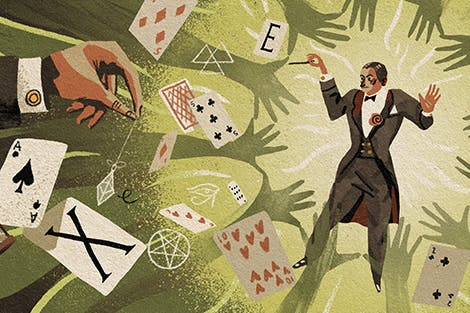 Illustration of magician with cards around him.