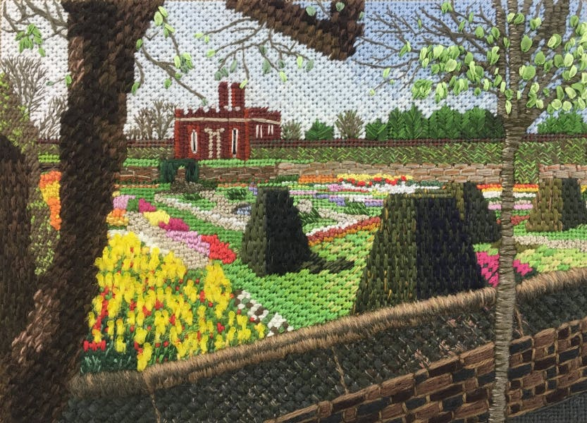 A piece of embroidery created by Julia Jackson as part of a course at the Royal School of Needlework. It is to be used only in the promotion of the RSN online summer exhibition 2020.