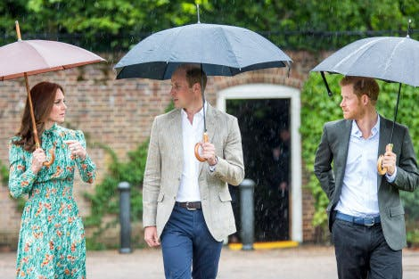 The Duke and Duchess of Cambridge and Prince Harry visit the White Garden at Kensington Palace
