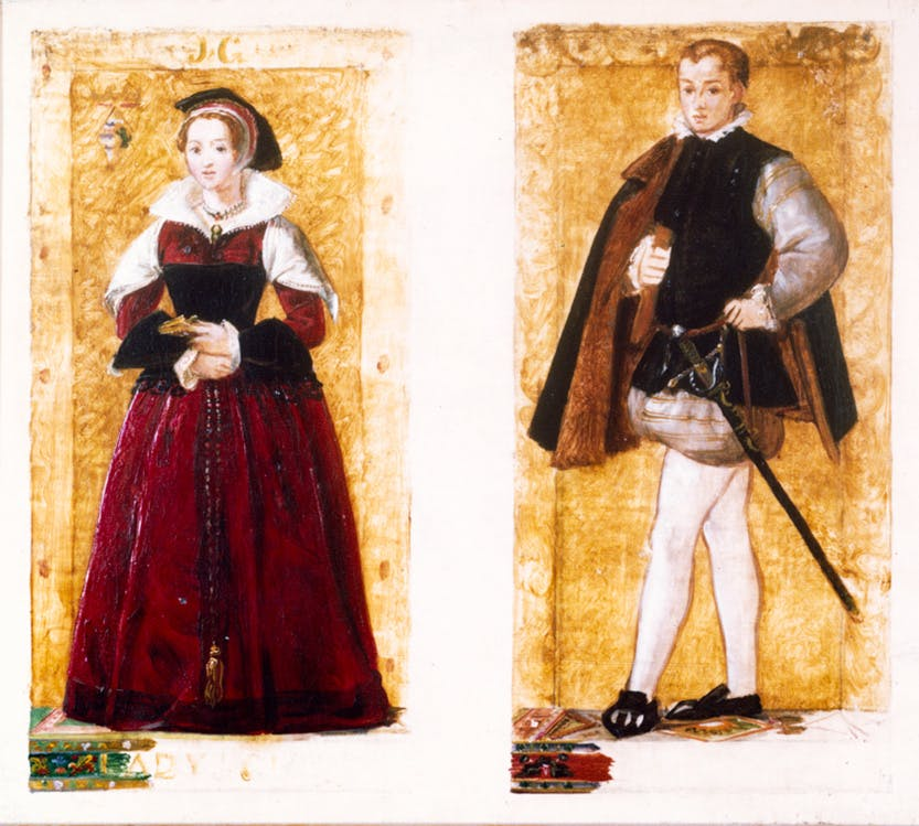 Twin portraits of Lady Jane Grey and her husband Lord Guildford Dudley in the form of preparatory sketches.