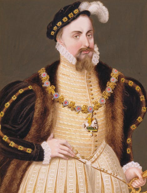 Three quarter length portrait of Henry Grey, Lady Jane Grey's father, dressed in a patterned, yellow doublet and a richly decorated coat with a bejewelled hat.