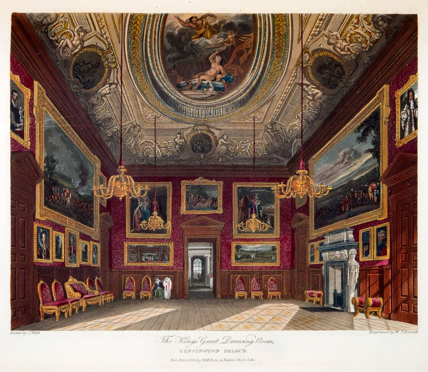 An illustration showing George I's drawing room at Kensington Palace with a decorate ceiling by William Kent that depicts Jupiter and Semele.