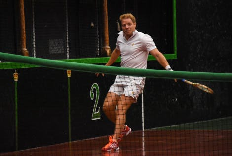 Real Tennis World Champion, Camden Riviere, competing in 2017 Real Tennis Champions Trophy at the Royal Tennis Court.