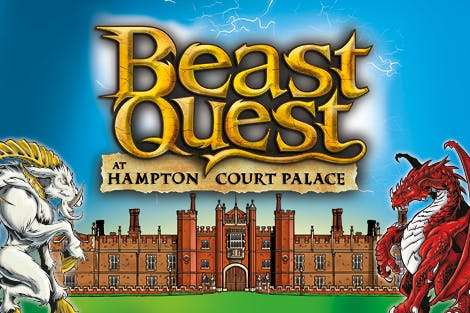 Illustration of the entrance to Hampton Court Palace, two beasts on either side and 'Beast Quest' logo in the center.