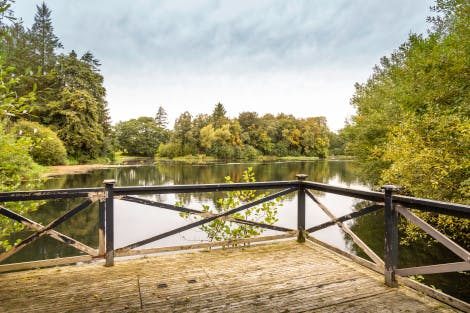 A large lake at Hillsborough Castle and Gardens under a cloudy sky. Foliage from the surrounding trees and planting surrounds the water