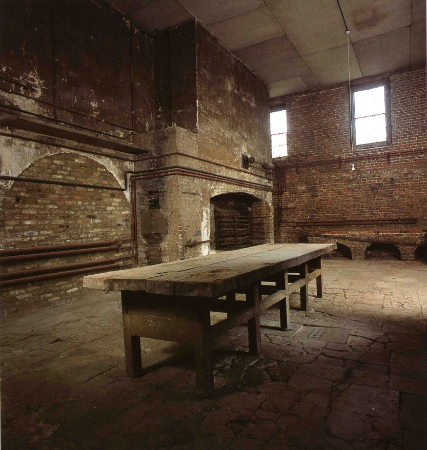 The Royal Kitchens. The Great Kitchen, looking south east before restoration