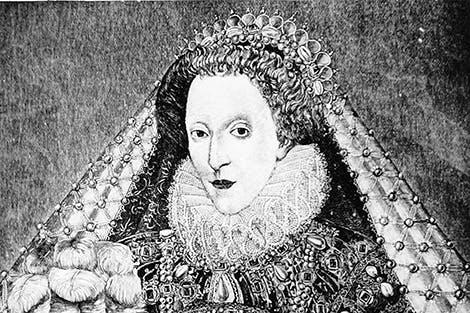 Black and white engraving of Elizabeth I.