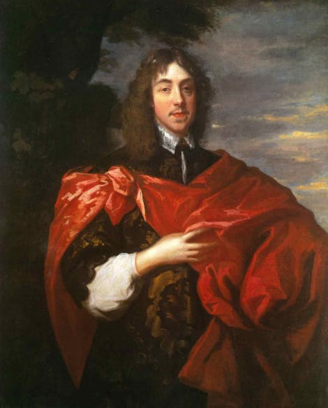 A copy of a portrait of George Stuart, Seigneur d'Aubigny. George Stuart was an important figure in the English Civil War. He found on the Royalist side and was killed at the Battle of Edgehill. The artist, van Dyck was a child prodigy. At the age of 22, he moved from his home-town of Antwerp to England to work for King James I.