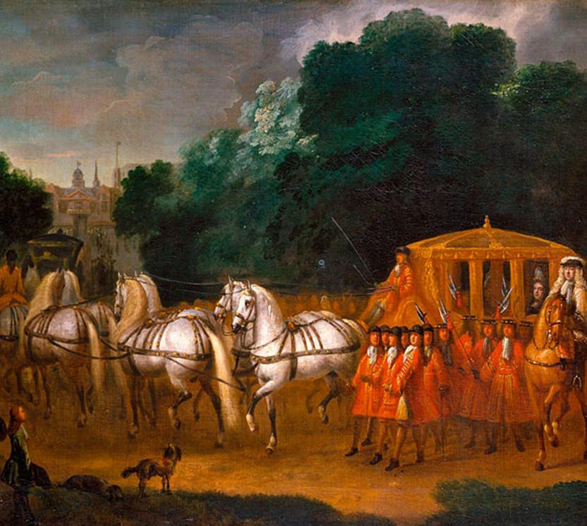 A painting depicting Queen Anne processing in her state coach towards St James' Palace with onlookers surrounding her.