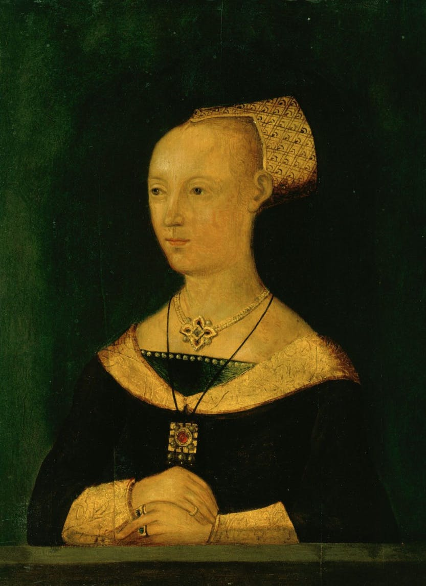 Portrait of Elizabeth Woodville, half-length, resting her folded hands in front of her.