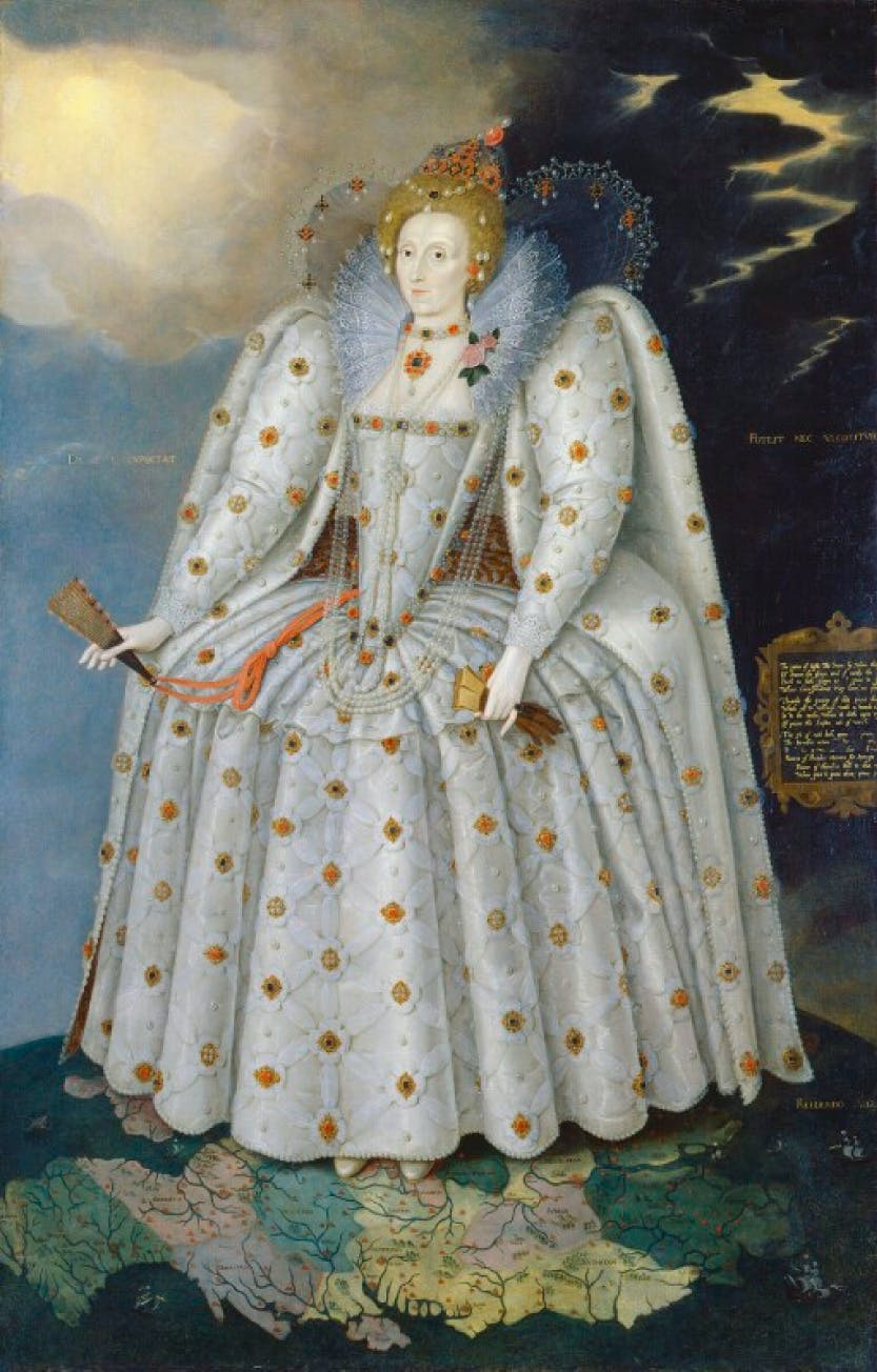 Portrait of Elizabeth I standing on the globe of the world, with her feet on Oxfordshire.