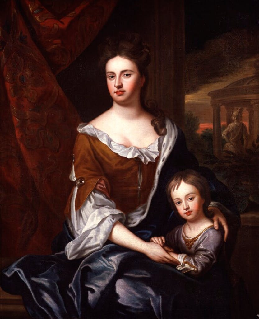 Anne embracing her son William, Duke of Gloucester.