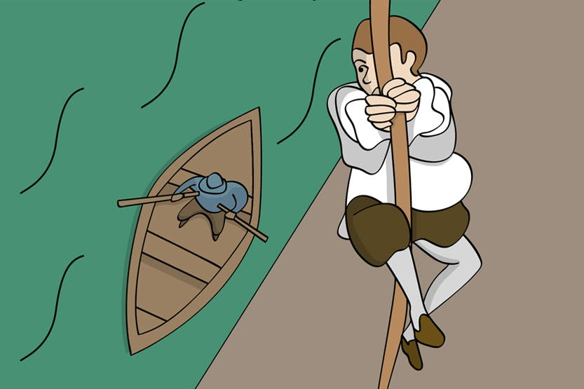 Illustration of John Gerard as he climbs down a rope to the river where a man in a boat awaits him.