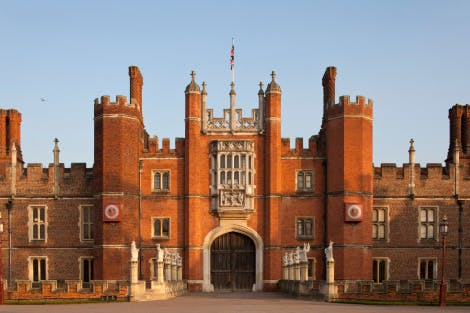 A wide view of the main visitor entrance (West Gate) of Hampton Court Palace.