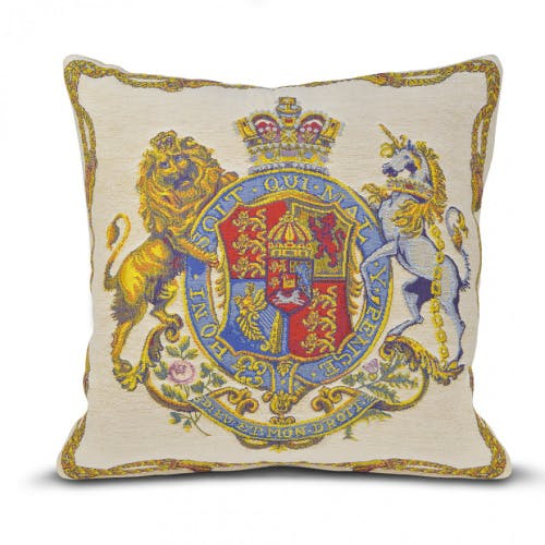 Royal coat of arms tapestry cushion