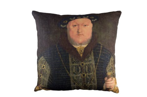 This unique cushion is made in the UK and features a portrait of Henry VIII, King of England from 1509 to 1547.