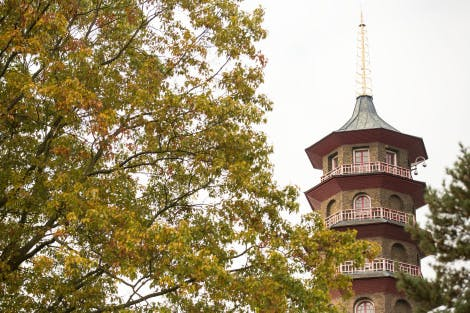 The Great Pagoda, showing the top three storeys.  A tree with autumn leaves is in the foreground. The Great Pagoda is an imitation Chinese octagonal tower of ten storeys designed by Sir William Chambers and completed in 1762.