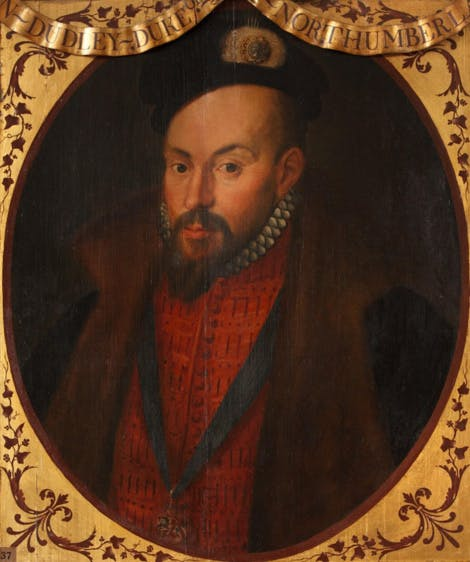 Bust-length portrait of John Dudley, wearing a bright red doublet. Around the portrait is a painted gold frame with his name above his head.