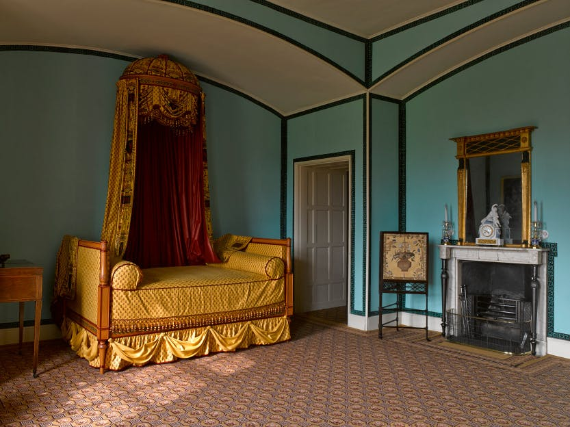 Princess Elizabeth's Bedroom, looking north west. The room is decorated in turquoise and gold.