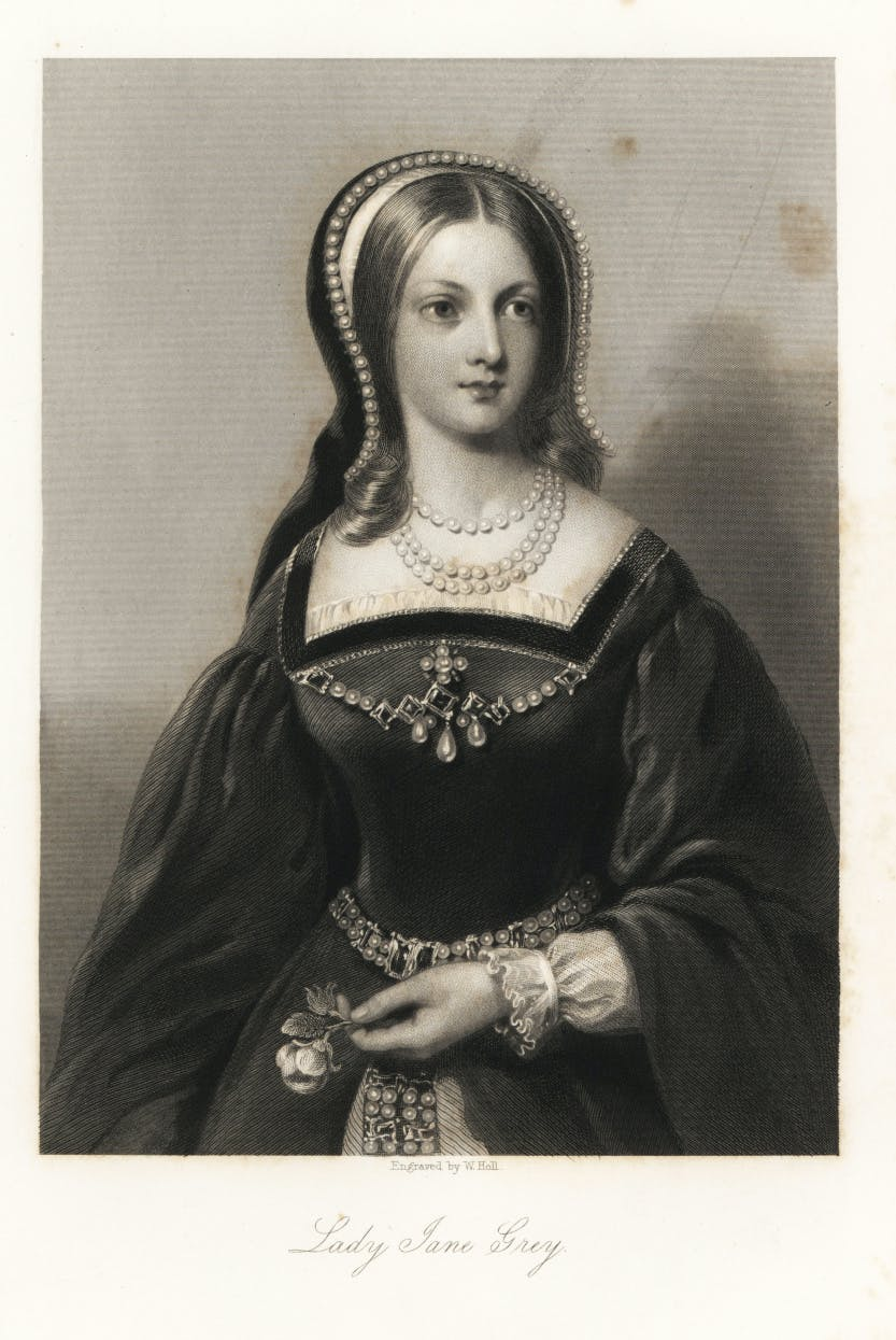 Portrait of Lady Jane Grey in monochrome.