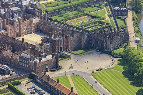 Aerial view of Hampton Court Palace from the West
