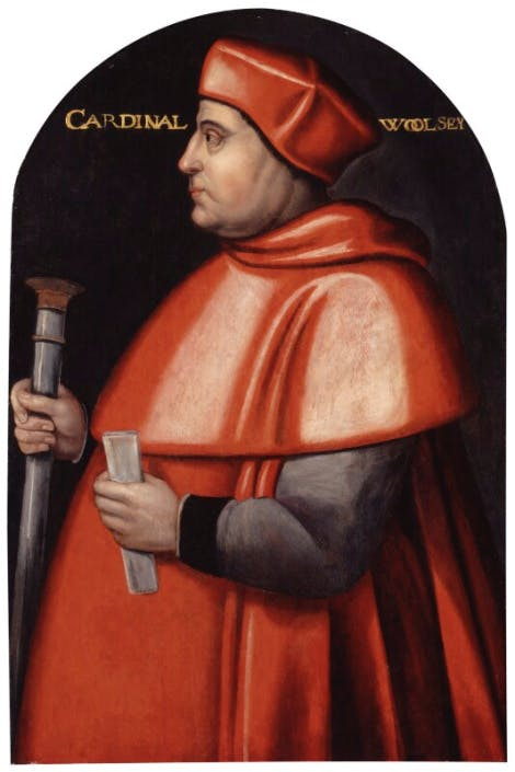 A painting of Cardinal Wolsey in red robes.