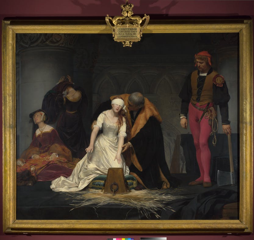 Lady Jane Grey (1537 - 1554) is guided towards the execution block by Sir John Brydges, Lieutenant of the Tower.  The executioner stands impassive to the right and two ladies in attendance are shown grieving to the left.  National Gallery, N1909
