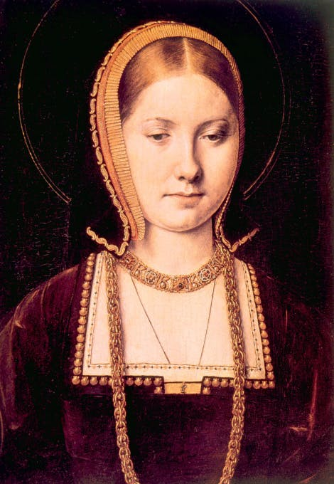 A portrait of Catherine of Aragon, bust-length, her eyes downcast, wearing a rich bejewelled chain and a headdress.