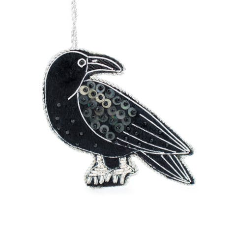 Raven luxury embroidered hanging decoration on a white background