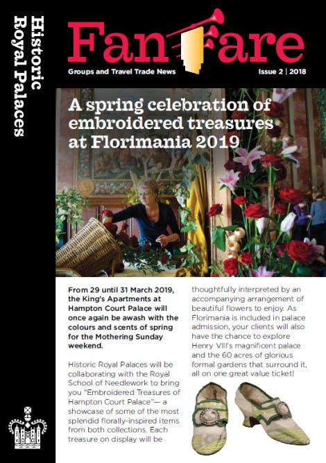 Image of the front cover of the summer 2018 Fanfare newsletter. The Fanfare logo heads the image in bold red, followed by the lead article on the 'Florimania' event at Hampton Court Palace' and an accompanying image of a lady arranging brightly coloured flowers.