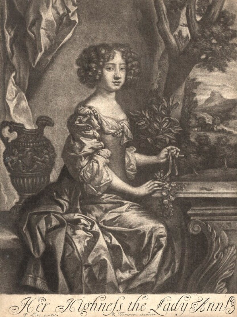 A print depicting the portrait of Queen Anne when Princess
