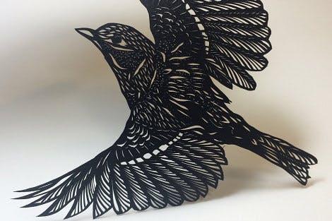 Paper cut sparrow