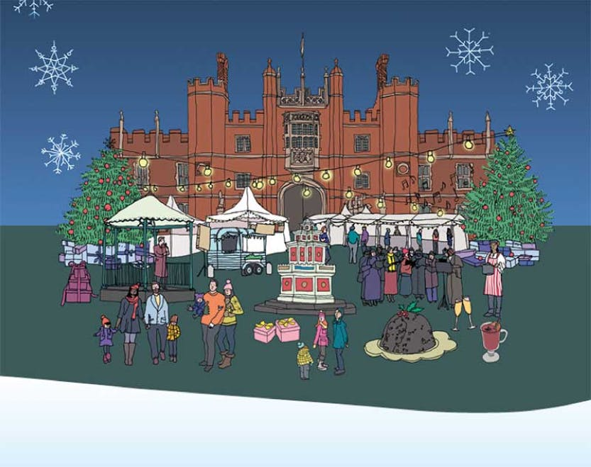 Illustration of the East Front of Hampton Court Palace with food tents and christmas displays in front under a snowy blue sky.